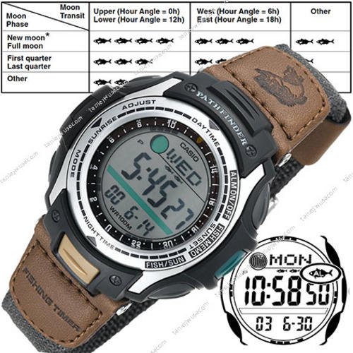 Men 39 s watches casio pathfinder moon phase fishing for Casio fishing watch