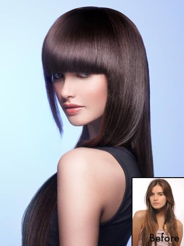 brown hair full fringe