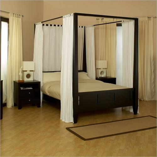 cafe noir four poster bedroom set with iron canopy. amish bedroom ...