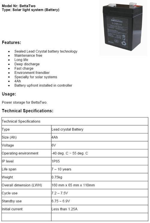 Betta 2 Battery
