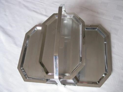Art Deco Chrome Cake Stand : Utensils - ART DECO CHROME PLATED TWO TIER FOLD UP CAKE ...