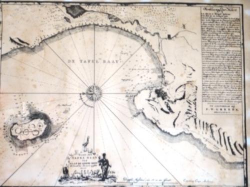 Maps vintage framed print of kaart der tafel baay van kaap de goede hoop 375 x 475 cm - Tafel tv vintage ...
