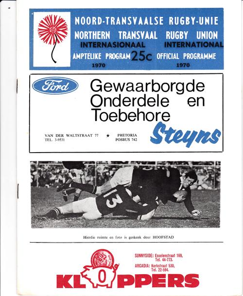 NORTHERN TRANSVAAL V ALL BLACKS 1970 RUGBY