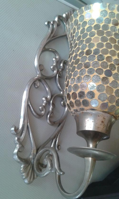 Wall Candle Sconces Silver : Candlesticks & Candle Snuffers - Beautifull Vintage Silver Wall Sconce Candle Holder with ...