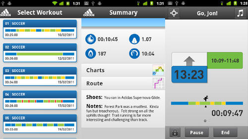 Android and iPhone apps for training system by Adidas - micoach