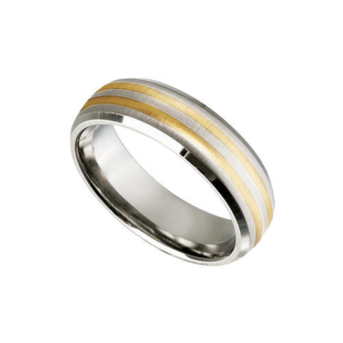 rings titanium band ring with 9kt yellow gold inlay