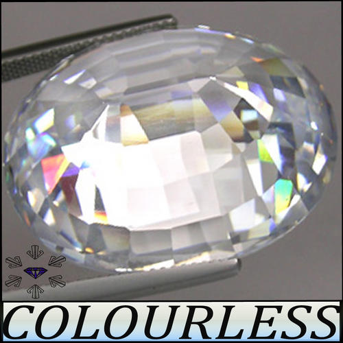 LUSTROUS TOP WHITE D-COLOUR, PRECISION POLISHED OVAL DIAMOND (MAN MADE SIMULATE),