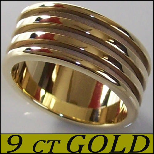 Stylish Sophisticated Precision Grooved Golden Male Wedding Band