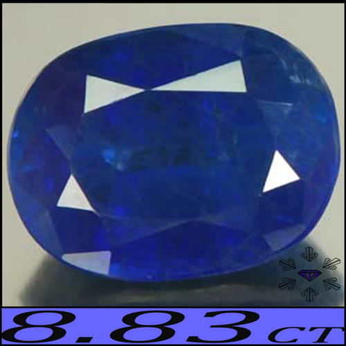 8.83 CT BRIGHTLY SHINING HUGE KASHMIR DEEP BLUE SAPPHIRE, AN OVAL POLISHED GEMSTONE.