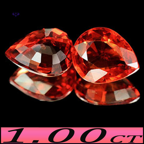 PAIR CLEAN FANCY ORANGE RED NATURAL SONGEA SAPPHIRE GEMSTONES.