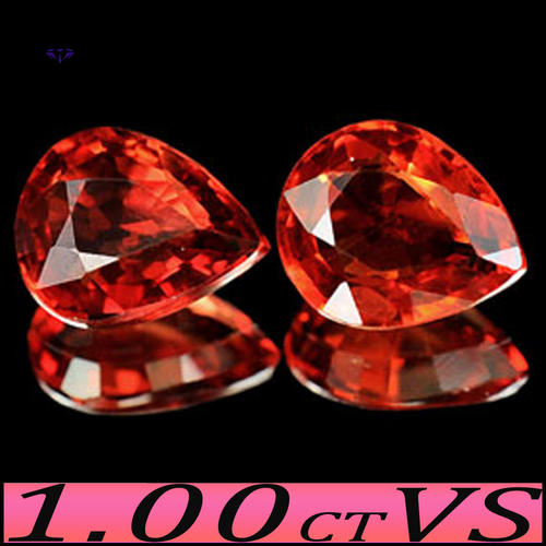 PAIR CLEAN FANCY RED NATURAL SONGEA SAPPHIRE GEMSTONES.