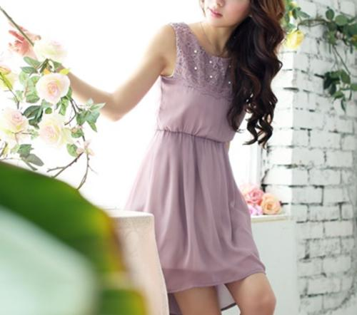Casual Dresses - *Fashion Tokyo* High-low Pearl Decoration Chiffon ...