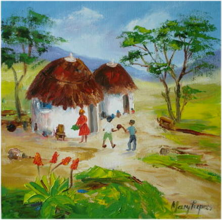 Paintings african huts 2 oil painting crazy start r1 for How to start oil painting