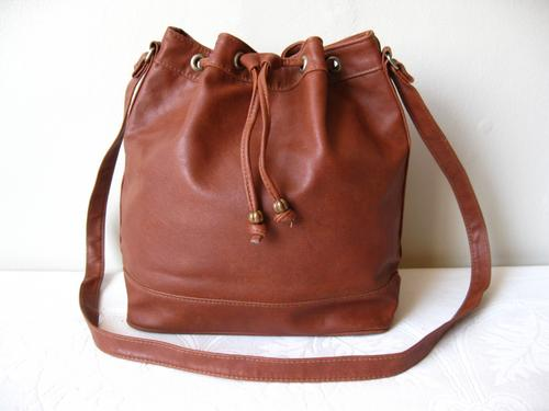 Handbags & Bags - VINTAGE BROWN FAUX LEATHER DRAWSTRING BUCKET ...