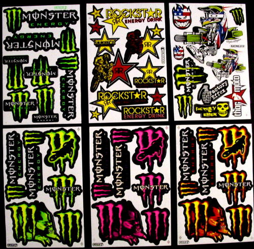 accessories 6 sheets stickers vinyl energy rockstar bmx atv moto cross rs3 was sold