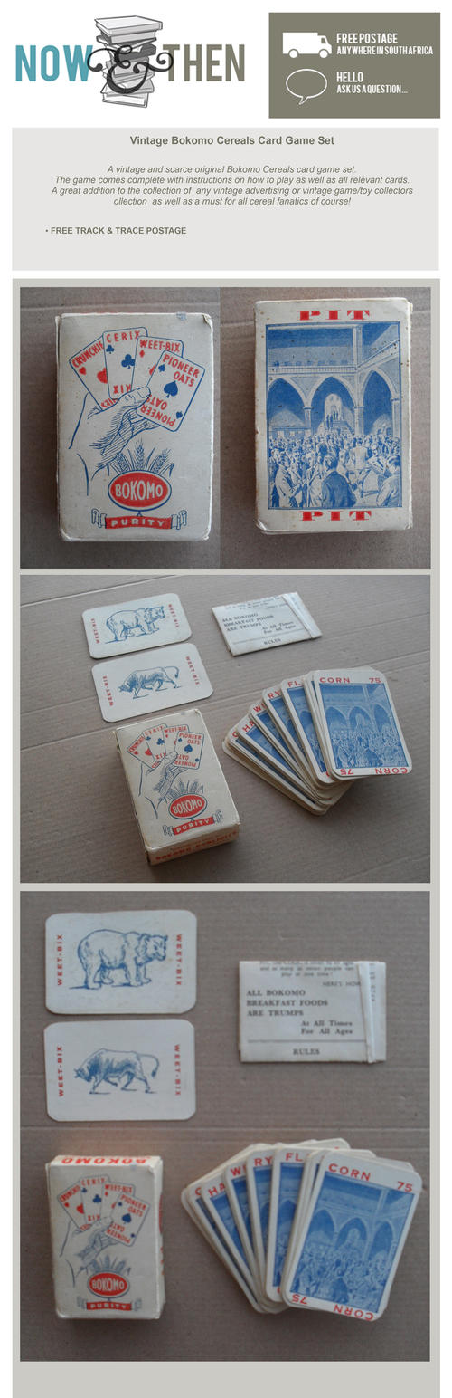 VINTAGE BOKOMO CERALS CARD GAME SET ADVERTISING NOW AND THEN