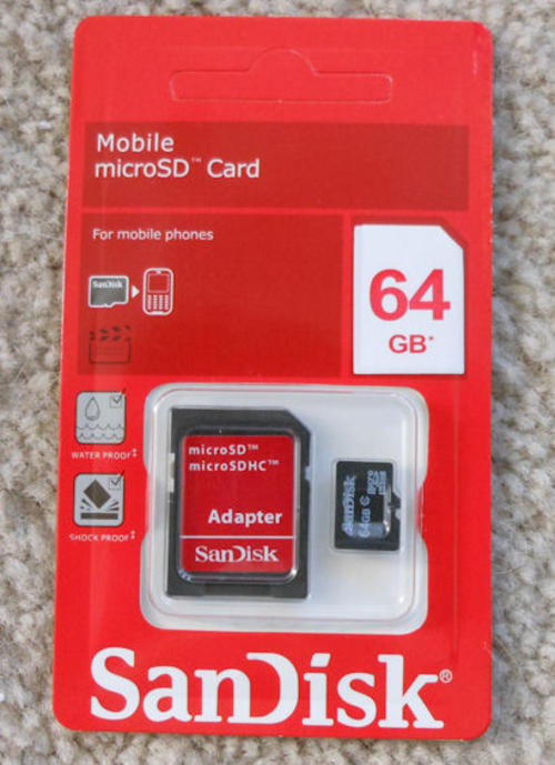 memory cards sandisk 64gb sdhc micro sd sd adapter. Black Bedroom Furniture Sets. Home Design Ideas