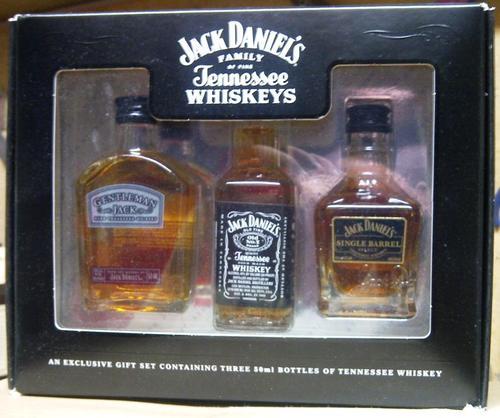 bar accessories jack daniels family of fine whiskeys set of 3 mini bottles was sold for r300. Black Bedroom Furniture Sets. Home Design Ideas