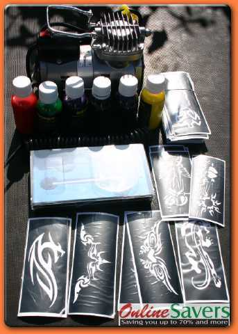 Flaming Peace Sign Airbrush Tattoo tattoos kit tattoos kit neon colored duct