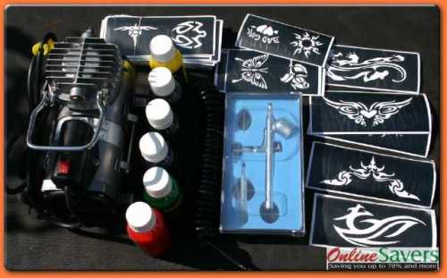 Co Wholesale - Temporary Airbrush Tattoo Starter Kit,Glitter Tattoo Kit