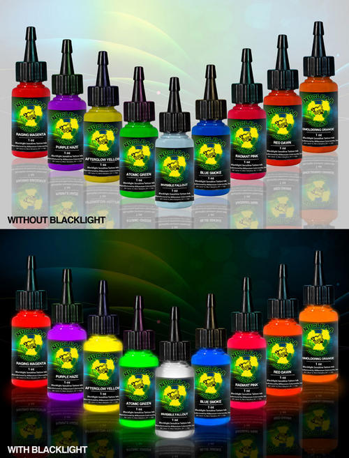 NUCLEAR UV Tattoo Ink 9 Bottle 1oz Set by Millenium Moms Tattoo Inks