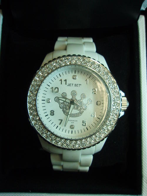 s watches jetset white with diamante was