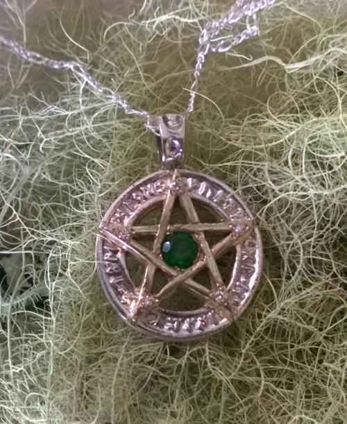 Sterling Silver Pentacle Pendant with Diamonds and Green Agate
