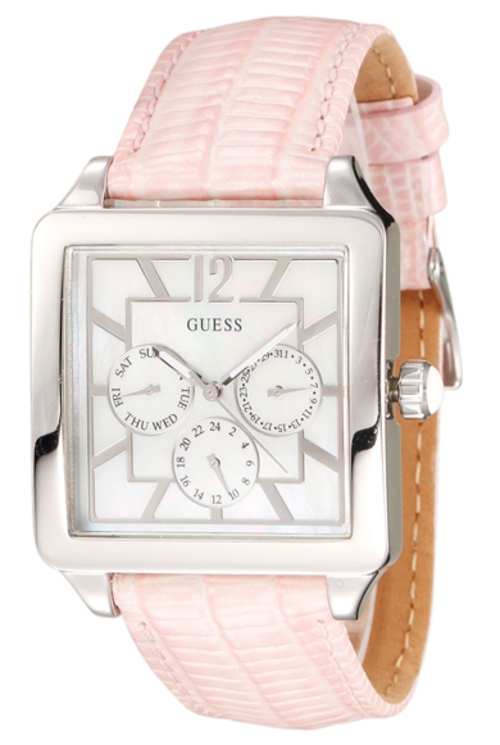 s watches guess silver tone pink leather