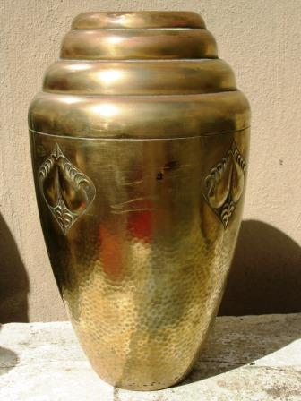 brass enormous adolf knecht german bauhaus art deco brass vase manufactured by wumak was. Black Bedroom Furniture Sets. Home Design Ideas