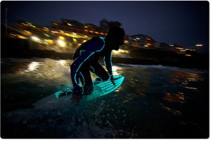 Glow in the dark surfboard