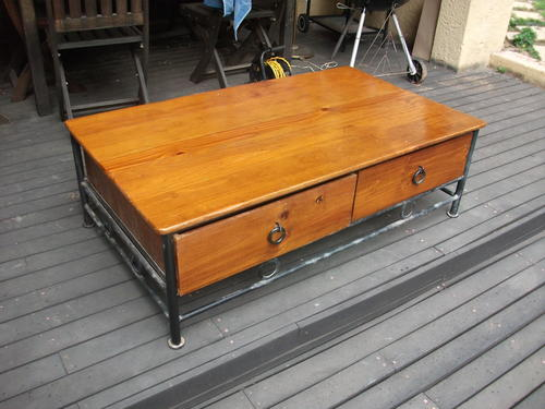 Tables lovely large coffee table metal wood with two for Large coffee table with drawers