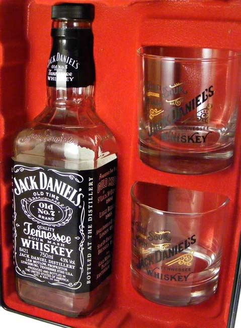 bar accessories jack daniel 39 s old no 7 collectors tin with glasses and bottle was sold for r71. Black Bedroom Furniture Sets. Home Design Ideas