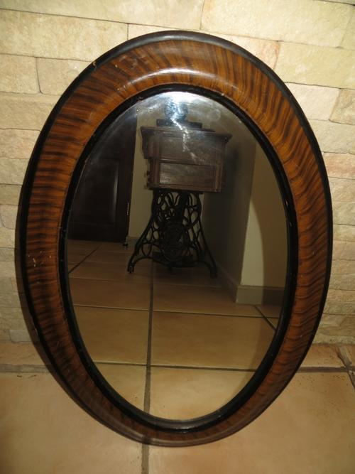 Frames & Mirrors - ANTIQUE OVAL TIGER STRIPED WOOD FRAMED ...