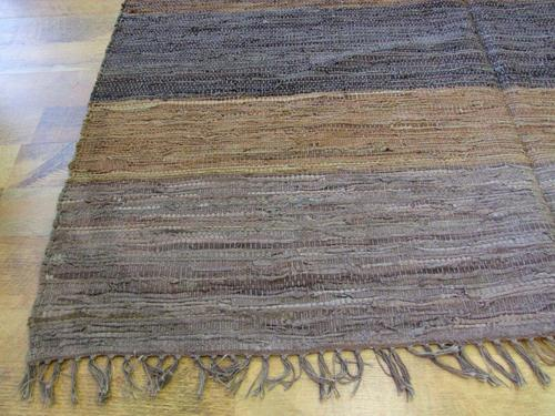 Leather dhurrie kilim neutral earthy colours