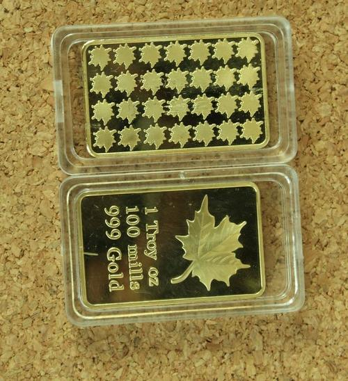 1 Troy Oz Silver Maple Leaf Bar 1 Troy Ounce 999 Silver