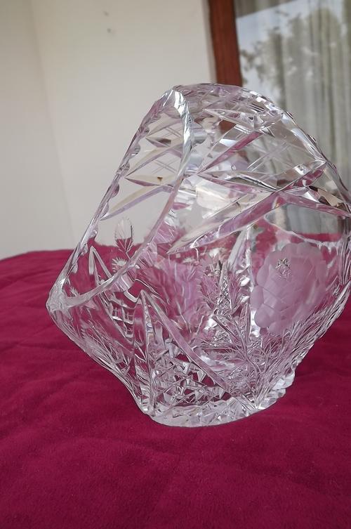 Vases - Cut glass crystal basket design vase with 16x16cm ...