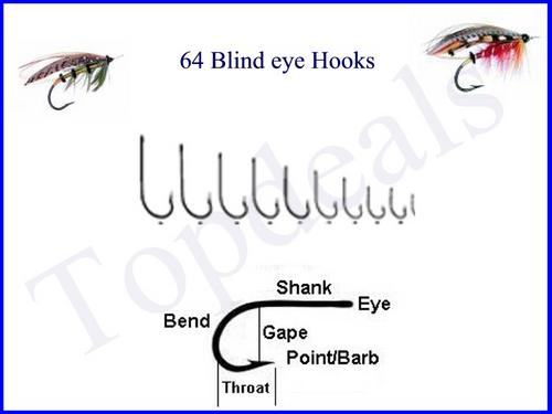 other fishing - 64 fishing hooks size 3 - 12 (blind eye was sold, Fly Fishing Bait