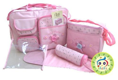 nappy bags new 4 and 5 piece baby bag sets in pink blue beige or khaki va. Black Bedroom Furniture Sets. Home Design Ideas