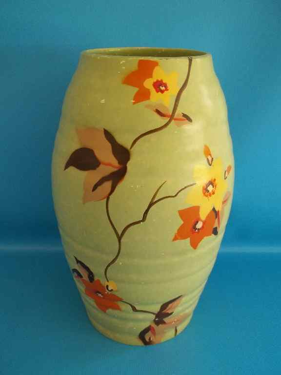 English Porcelain Brentleigh Ware Hand Painted Circa 1930 S Art Deco Ballina Vase Height