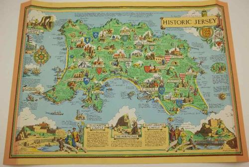 Decorative Historic Jersey Map, Printed By Ben Johnson & Co, Ltd - 57cm/42,5cm