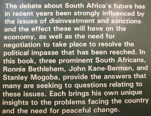 Sanctions And The Alternatives - Stanley Mogoba, John Kane-Berman, Ronnie Bethlehem, 1988 - South African Institute Of Race Relations