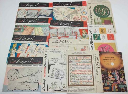 Fantastic Lot of 11 Vintage Transfer Patterns + Booklet, Includes Vogart; Simplicity; McCall