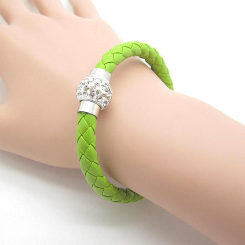 Leather wrap apple green wristband clear rhinestone magnetic clasp