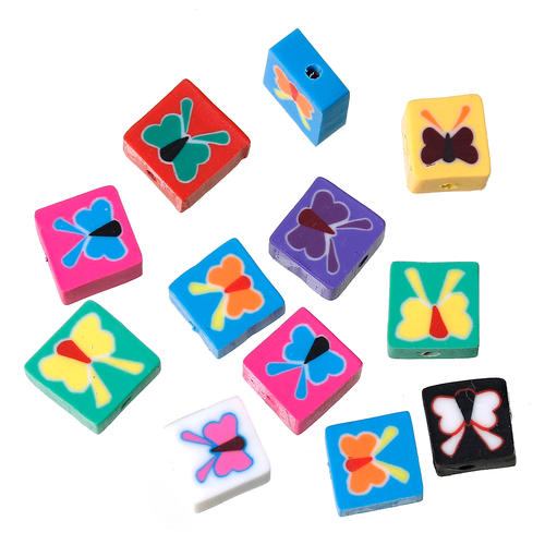 Polymer clay assorted multicolor butterfly square beads 9mm